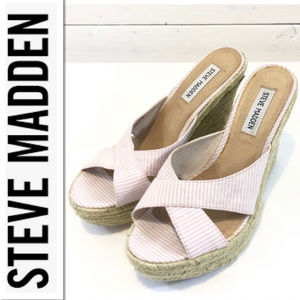 Steve Madden P-Figs Pink & White Espadrilles - 8.5